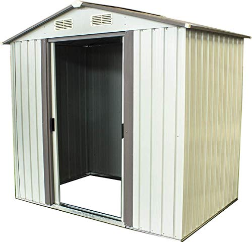 BonusAll Storage Shed Tool House 4×6 FT Outdoor Garden Steel Shed Walk-in (White)
