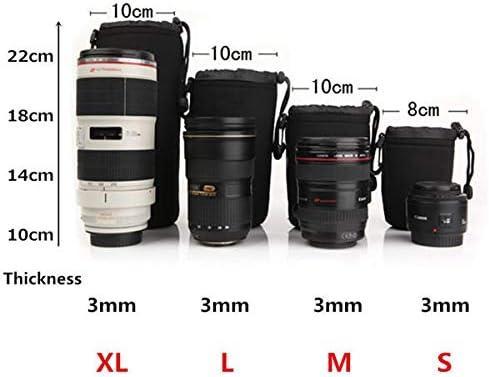 HeavenSense 4Pcs Soft Neoprene S M L XL Lens Pouch Bag for Canon Nikon Sony Pentax DSLR Camera