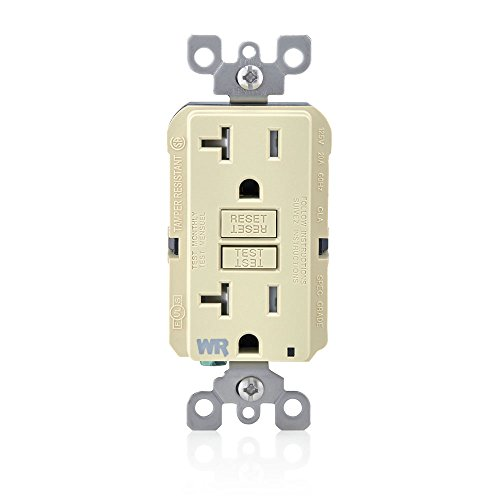(Leviton GFWT2-I Self-Test SmartlockPro Slim GFCI Weather-Resistant and Tamper-Resistant Receptacle with LED Indicator, 20 Amp, Ivory)