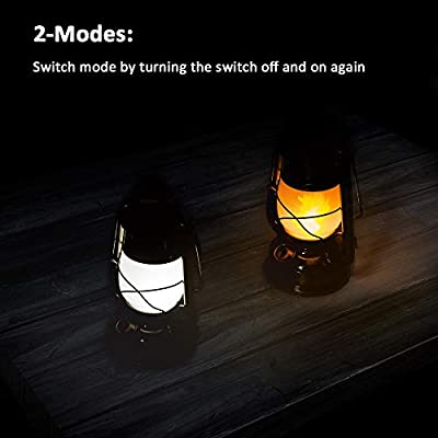 LEDERA Flame Light Vintage Lantern, Antiqued Copper Flickering Lantern, 2 Modes, full white and flame effect with Battery Operated, Decorative Hanging Lanterns