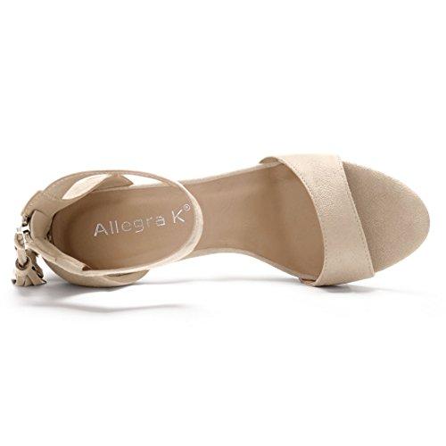 Tassel Women Beige Sandals Ankle Strap Allegra K w7FESS