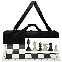 """WE Games Ultimate Tournament Chess Set with NEW Green Silicone Chess Mat, Canvas Bag & Super Triple Weighted Chessmen with 4"""" King"""