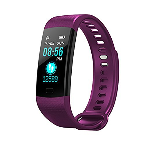 Fitness Tracker Watch,Smart Wristband Color Screen Watch Blood Pressure Heart Rate Monitor Bracelet Activity Fitness Tracker Pedometer Waterproof Smart Watch for iPhone X (Purple) Boens