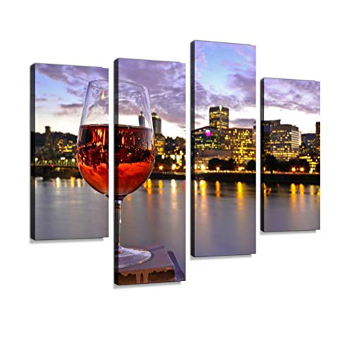 ROS Wine Glass Inverted Image Riverfront Skyline Downtown Portland Oregon Canvas Wall Art Hanging Paintings Modern Artwork Abstract Picture Prints Home Decoration Gift Unique Designed Framed 4 Panel - Oregon Art Glass