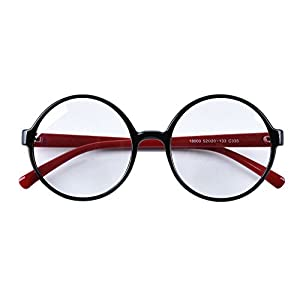 Agstum Retro Round Glasses Frame Clear Lens Fashion Circle Eyeglasses 52mm (Black/Red, 52mm)