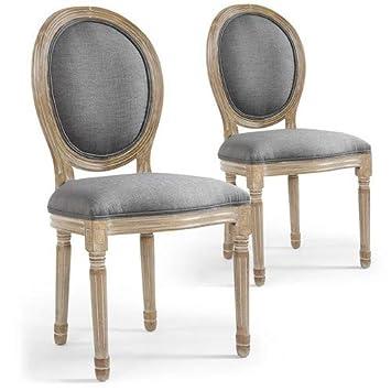 d3edb599359d9 Menzzo Lot de 2 chaises médaillon Louis XVI Tissu Gris: Amazon.fr ...