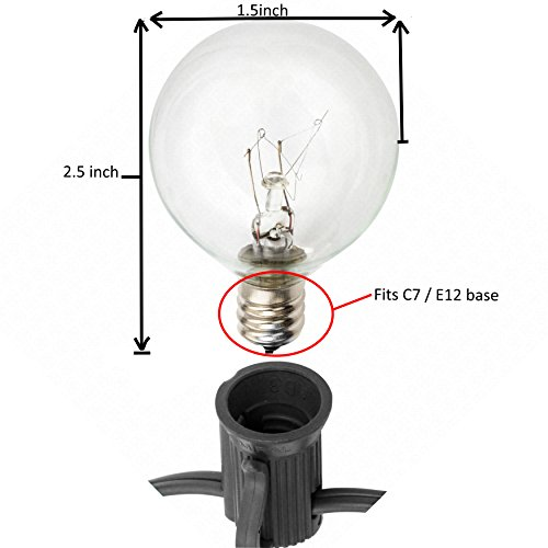 Globe String Lights with G40 Bulbs (25ft.) by Deneve (Black) - Lighting - Patio and Furniture