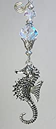 Silvery Raised Seahorse with Crystal Clear Faceted Glass Ceiling Fan Pull / Light Pull Chain