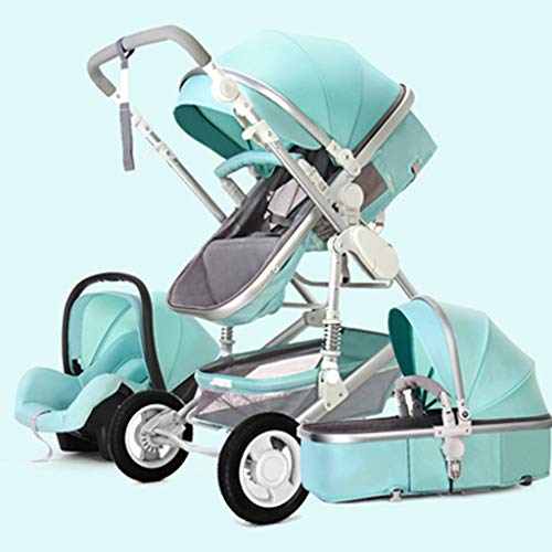 KHUY 2 in 1 Baby Stroller, High Landscape Infant Stroller & Reversible Pram, Foldable Pushchair with Adjustable Canopy, (Color : Green-A)