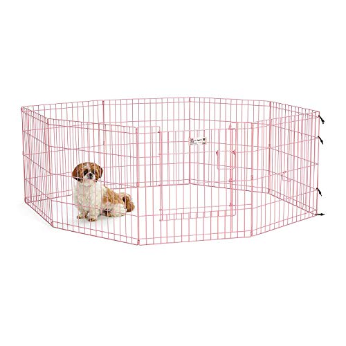 MidWest Homes for Pets Exercise Pen for Pets with Full Max Lock Door, 24-Inch, Pink ()