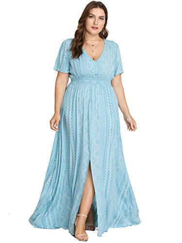 Maxi Neck Sleeve Short Print V Size Floral Flowy Dress Flare Plus Women's Buttons Romwe split Blue w0q7zz