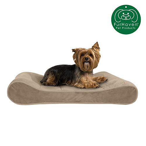 Furhaven Pet Dog Bed | Orthopedic Micro Velvet Ergonomic Luxe Lounger Cradle Mattress Contour Pet Bed w/ Removable Cover for Dogs & Cats, Clay, Medium (Bed Tufted Dog)