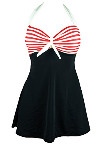 Cocoship Black & Red White Striped Vintage Sailor Pin Up Swimsuit One Piece Skirtini Cover Up Swimdress M(FBA)