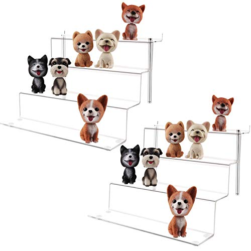 LILEZBOX Acrylic Display Stand for Funko Pops Amiibo Figures, Large 4 Step Display Riser Shelf for Cupcake Dessert Product 12x11x8.8 Inch - 2 Pack [Upgraded]