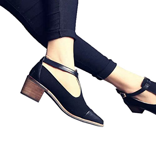 Office Black Buckle Shoes Pointed Ladies