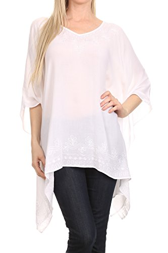 Sakkas K2022S - Wren Lightweight Circle Poncho Top Blouse with Detailed Embroidery - White - One -