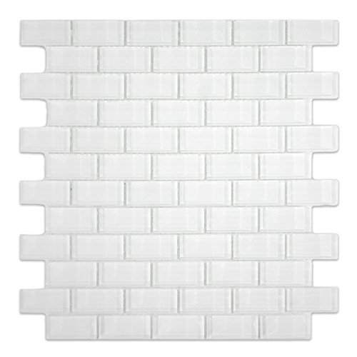 (White 1x2 Mini Glass Subway Tile 1 sq.ft. (Mesh Mounted) )