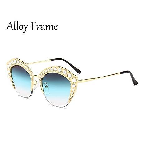 TL-Sunglasses Occhio di gatto Occhiali da sole donne Strass mezza trama Sexy Occhiali da sole Ladies sfumature G161,C1 telaio del PC