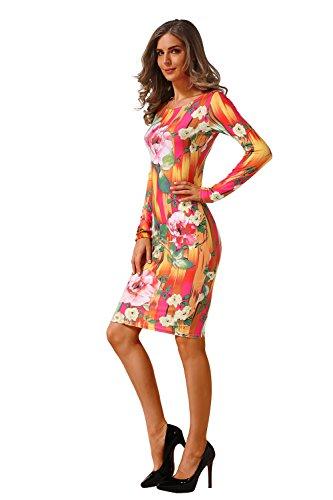 for dress C0006 Fashion Casual Slim Women Sleeve Dresses AISKLY Print ZgYzfnn