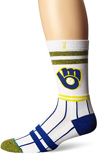 Stance Men's Brewers Crew Sock, White, Sock Size:10-13/Shoe Size: 6-12 ()
