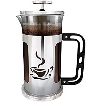 Ultimate Kitchen French Press Coffee Maker, 1 Liter (4 cups), Chrome Finished Stainless Steel, Loose Leaf Tea Brewer. Delicious Coffee Recipe on Box