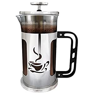 French Press Coffee Maker by Ultimate Kitchen - 1 Liter (4 cups) - Chrome Finished Stainless Steel - Loose Leaf Tea Brewer - Delicious Coffee Recipe on Box