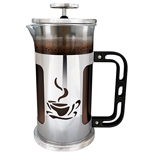 Cheap French Press Coffee Maker – 1 Liter (4 cups) – Chrome Finished Stainless Steel – Loose Leaf Tea Brewer – Delicious Coffee Recipe on Box