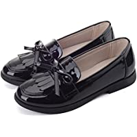 Flyrioc Girl's Casual School Uniform Dress Shoe Slip-on Ballet Flats Shoes (Little Kids/Little Girls)