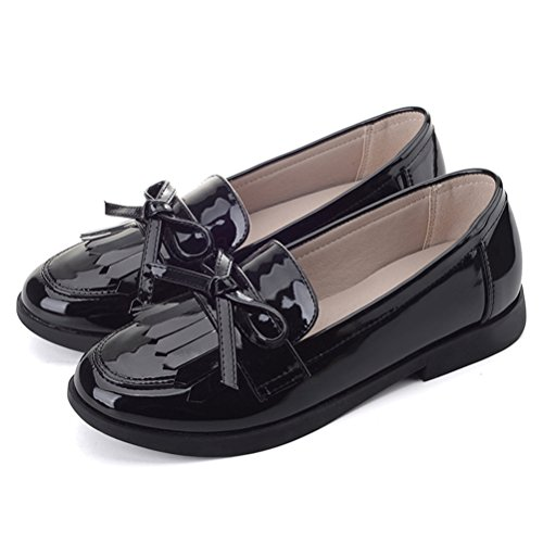 0c3ecc73f2dc Flyrioc Girl s Casual School Uniform Dress Shoe Slip-on Ballet Flats Shoes (Little  Kids