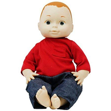 "Constructive Playthings 13"" Multi-Ethnic Caucasian Boy Doll with Moveable Head, Arms and Legs, Safe Painted Eyes and Durable Washable Clothes for Ages 19 Months and Up"
