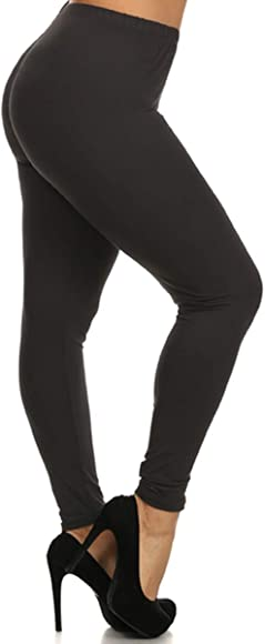 Buttery Soft SOLID Black Leggings Tall /& Curvy XL Extra Plus Size Solid Black TC