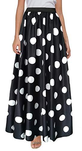 Sinono Women's Chiffon Stripe Maxi Skirt High Waist Mopping Floor Skirts (Medium, Black Dot)