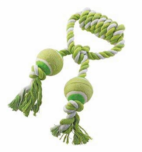 Ethical Pet Mega Twister Heavy Twisted Double Tennis Tug 14-Inch Dog Toy (Mega Twister Rope)