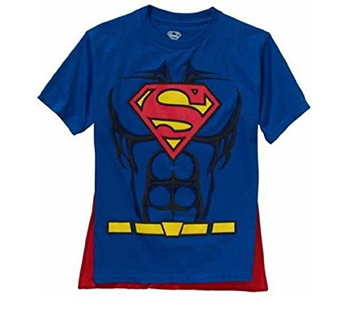 DC Comics Superman Boys Caped Shirt (Small 6/7) (Superman T Shirt With Cape)