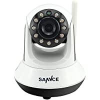 SANNCE IP7800HD 720P Wireless IP Pan/Tilt/Night Vision Internet Surveillance Camera with Built-In Microphone and Phone Remote Monitoring Support (White/Black)