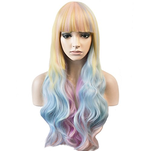 Price comparison product image RightOn 30'' Long Curly Lovely Pastel Wig with Neat Bangs Colorful Rainbow Wigs for Cosplay Party Halloween with Wig Cap