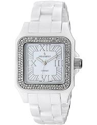 Peugeot Womens PS4897WT Swiss Ceramic Swarovski Crystal White Dial Watch