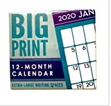 2020 12 Month Big Print Wall Calendar with Extra Large Writing Spaces