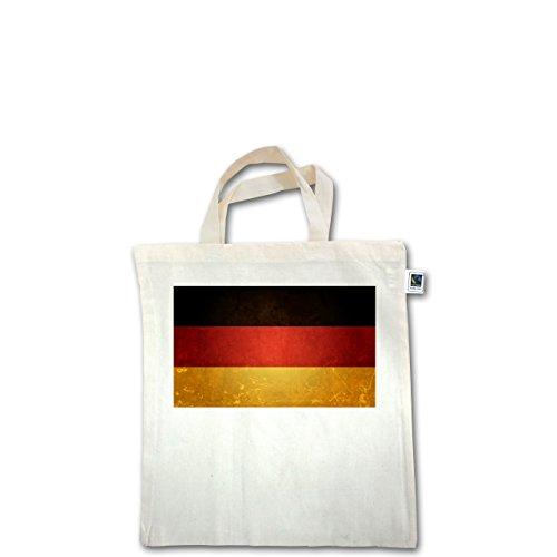EM 2016 - Frankreich - Flagge Deutschland - Unisize - Natural - XT500 - Fairtrade Henkeltasche / Jutebeutel mit kurzen Henkeln aus Bio-Baumwolle