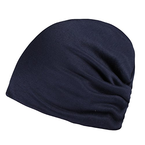 Timol Dark Blue Winter Cotton Beanie Thin Skull Caps for Men ()