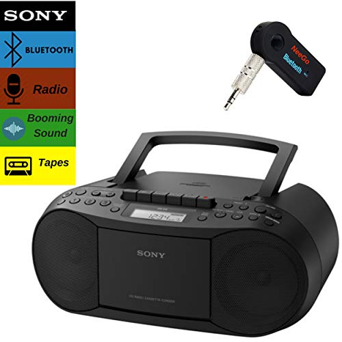 Sony Bluetooth Boombox Bundle – [2] Piece Set Includes Classic Stereo Boombox w/CD/Cassette/Radio & 3.5mm Include A NeeGo Wireless Bluetooth Receiver; Stream Music from Device
