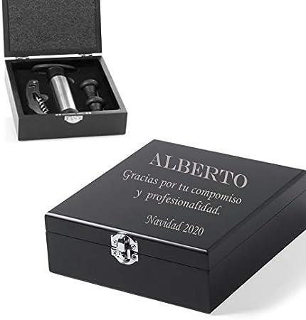 Set de vinos Accesorios para el Vino en Caja Personalizada con el Texto Que Quieras. Sacacorcho Vino