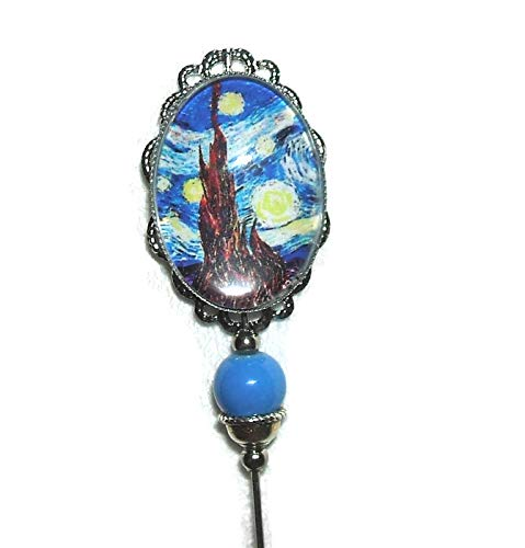 VAN GOGH STARRY NIGHT Glass Cabochon Stick Hat Pin Long Hatpin Silver Pltd Vintage Style Blue Bead -