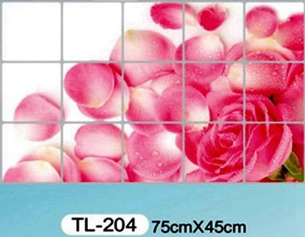 Home Decor - Zs Sticker Home Decoration Accessories Waterproof Aluminum Foil Sticker Tile Kitchen Bathroom Wall Decoration Tulip Flower ()