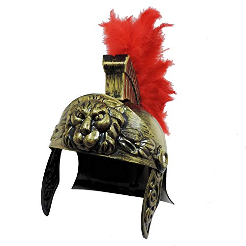 Roman Trojan Warrior Spartan Soldier Plastic Costume Helmet w/Red Feather Crest]()