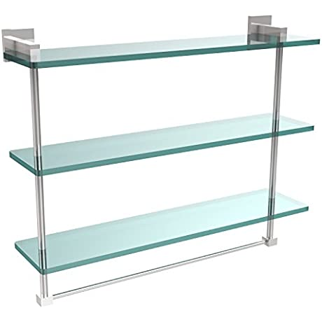 Allld Allied Brass MT 5 22TB PC Montero Collection 22 Inch Triple Tiered Glass Shelf With Integrated Towel Bar