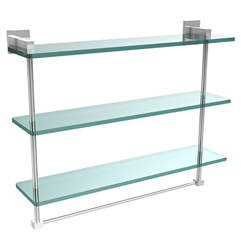 Allld|#Allied Brass MT-5-22TB-PC Montero Collection 22 Inch Triple Tiered Glass Shelf with Integrated Towel Bar, by Allied Brass
