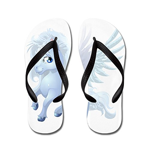 Truly Teague Mens Cartoon White Winged Pegasus Rubber Flip Flops Sandals Black vTdi0zbrT