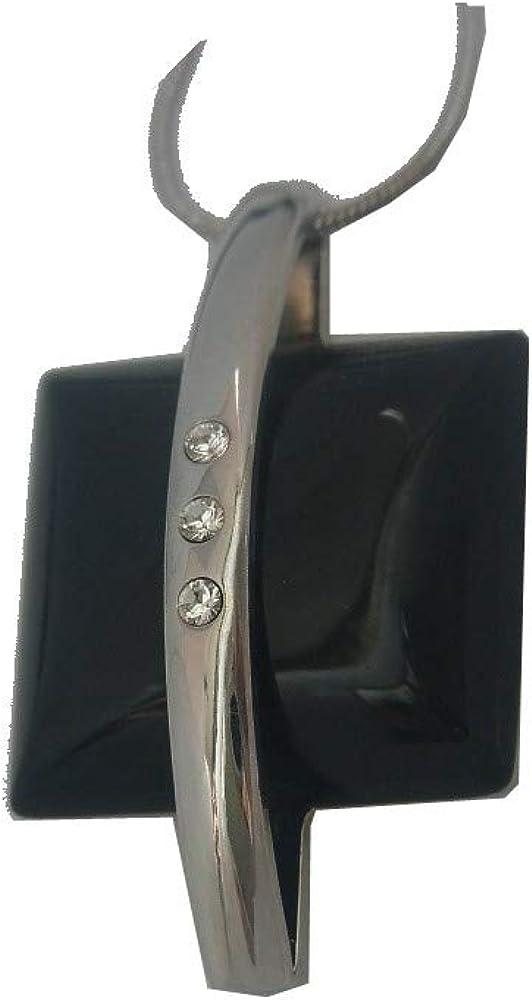 Collar con colgante de piedras preciosas de color negro ágata y con cristal de Swarovski Elements.