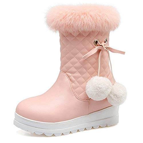GIY Womens Ankle Snow Boots Faux Leather Warm Waterproof Casual Slip On Winter Wedge Platform Boots Pink -